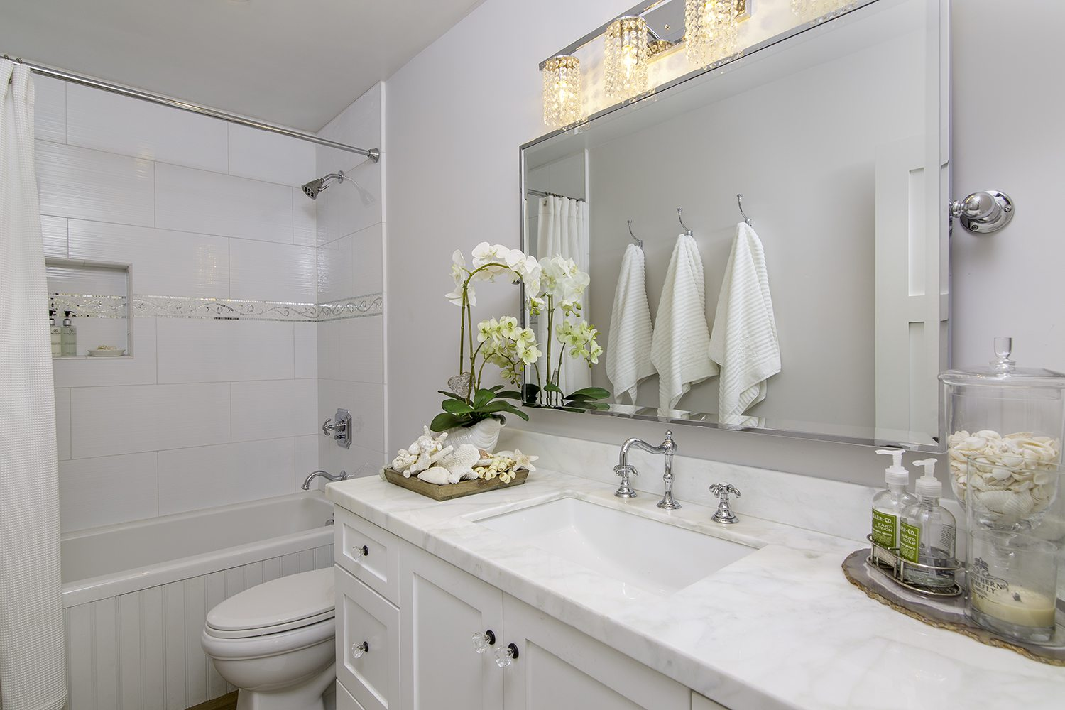 Instead of snow how about a beautiful all white home design for Bathroom remodel orange county ca